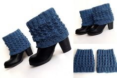 Navy Knitted Boot Cuffs Women Boot Socks Leg by senoAccessory