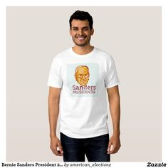 """Bernie Sanders President 2016 Shirt. American elections men's t-shirt showing an illustration showing Bernard """"Bernie"""" Sanders, American Senator, elected politician and Democrat presidential candidate set inside circle on isolated background and words Sanders President 2016 done in etching sketch style. #Sanders2016 #democrat #americanelections #elections #vote2016 #election2016"""