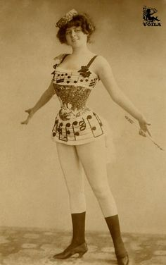 Victorian burlesque outfit example LOOK AT THAT SKINNY WAIST.  DID ANY OF THESE WOMEN EVER EAT?