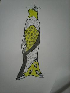 Hand Drawn fashion sketch of yellow dress with prints and patterns