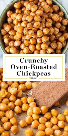 Crispy Oven Roasted Chickpeas Recipe Those cans of chickpeas sitting in your cupboard have been hiding an amazing secret. Roasted in the oven, chickpeas transform [. Chickpea Recipes Easy, Vegetarian Recipes, Healthy Recipes, Recipes With Chickpeas, Garbanzo Bean Recipes, Snacks Recipes, Oven Cooking, Cooking Recipes, Cooking Ribs