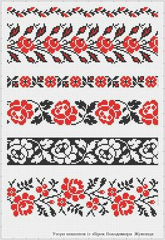 band knitting charts - 2 or 3 colors Beaded Cross Stitch, Cross Stitch Rose, Cross Stitch Borders, Cross Stitch Flowers, Cross Stitch Designs, Cross Stitching, Cross Stitch Embroidery, Embroidery Patterns, Cross Stitch Patterns