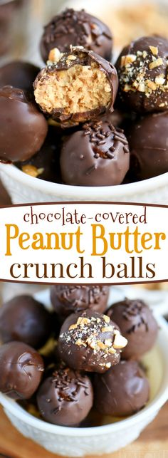 Satisfy your chocolate and peanut butter cravings with these easy Chocolate Covered Peanut Butter Crunch Balls! This delicious candy is great for the holidays and cookie trays! // Mom On Timeout #peanutbutter #chocolate #candy #recipe #dessert #Christmas #holiday