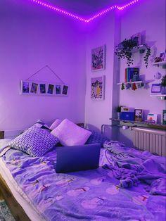 Neon Bedroom, Cute Bedroom Decor, Room Design Bedroom, Room Ideas Bedroom, Bedroom Inspo, Purple Bedroom Decor, Decor Room, Home Decor, Chill Room
