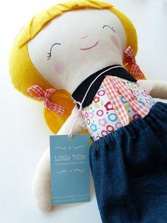 Handmade fabric doll, Little Miss Maya - READY TO SHIP. $39.00, via Etsy.