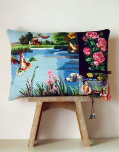 French Needlepoint Tapestry Linen Flying Ducks by Retrocollects