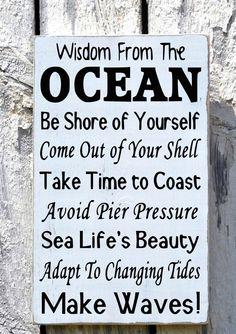 Advice Wisdom From The Ocean Sign, Beach House Art, Hand Painted Coastal Nautical Wood Decor