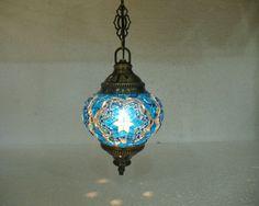 Blue mosaic hanging lamp türkische lampen moroccan lantern lampe mosaique e 7 #Handmade #Moroccan