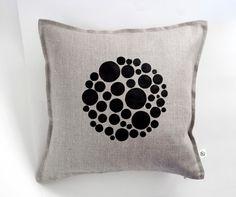 Pillowlink bubbles print on gray linen pillow cover by pillowlink, $35.00