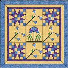Garden Patch Quilt  Flower Blocks  Modern Quilt  by OneDaisyStudio