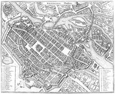 Wrocław. Widok miasta z lotu ptaka z I połowy XVII wieku przedstawiający jego ŚREDNIOWIECZNE mury – jeszcze przed modernizacją w czasach nowożytnych.