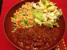 Chili with fried rice .