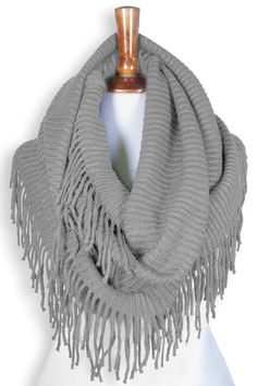Basico Women Winter Warm Knit Infinity Scarf Tassels Soft Shawl Various Colors (Type G- Gray) at Amazon Women's Clothing store: | @giftryapp