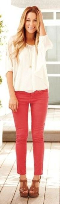 Simple adorable outfit white shirt, red pant and brown sandals for ladies.... to see more click on picture