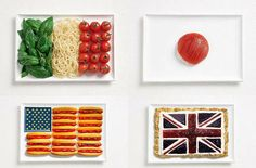 National flags made from national food
