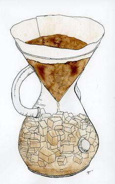 Chemex Iced Coffee Illustration by Greta Anne