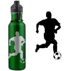 Soccer Player Silhouette (M) 24 oz Stainless Steel Water Bottle -LE - A great 24 oz water bottle for any athlete.  Made of high quality food-grade stainless steel that's BPA free for safe, clean drinking.