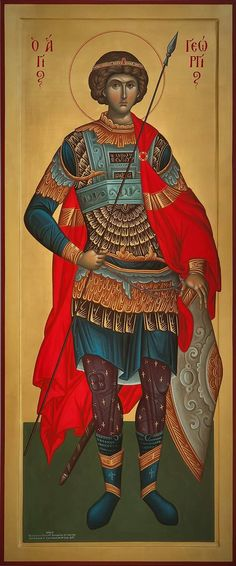 Byzantine Icons, Byzantine Art, Religious Icons, Religious Art, Saints And Soldiers, Saint Gabriel, Greek Warrior, Religious Paintings, Art Icon