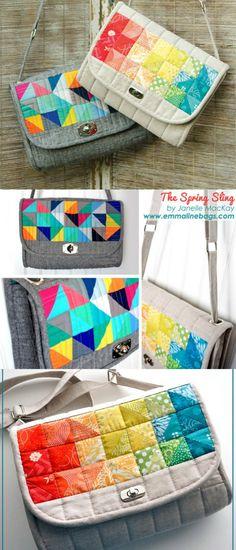 I love the patchwork style flap and the quilting on this purse sewing pattern. Handbag Patterns, Bag Patterns To Sew, Patchwork Bags, Quilted Bag, Craft Bags, Diy Bags, Fabric Bags, Handmade Bags, Bag Making