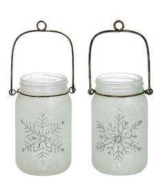 Look at this #zulilyfind! Snowflake String Light Glass Mason Jar - Set of Two #zulilyfinds