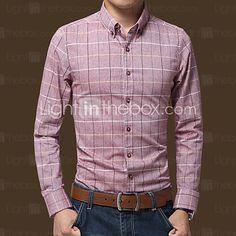 Men's Long Sleeve Shirt,Cotton / Linen Casual / Work / Formal / Plus Sizes Print / Striped / Plaids & Checks / Pure 2016 - €9.3