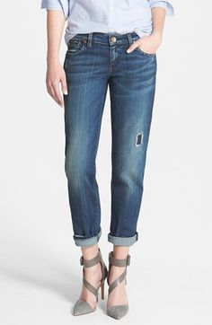 KUT from the Kloth 'Catherine' Destructed Slim Boyfriend Jeans (Dimple) available at #Nordstrom