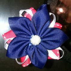 Red, White, and blue flower hairbow
