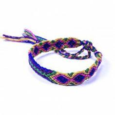 Bracelet Brésilien Croisé Rose, vert, bleu et jaune