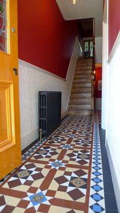Victorian Reproduction Mosaic Hallway and Path Brockley Peckham Dulwich London Contact anewgarden for more information Hall Tiles, Tiled Hallway, Yellow Hallway, Victorian Mosaic Tile, Victorian Hallway, London Garden, Entrance Ways, Hallway Ideas, Next At Home