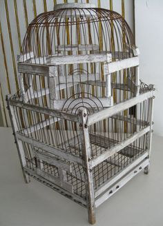 Old Chippy White Wood and Wire Bird Cage Vintage by paprikarose, $128.00