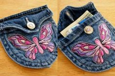 Upcycle jeans, coin purse, head phones