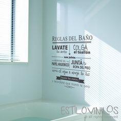 Ideal para recordarle a los chicos las reglas del baño!! Si tenes un espejo al frente y pared atrás, te recomendamos pedirlo espejato para que sea leido desde el espejo!