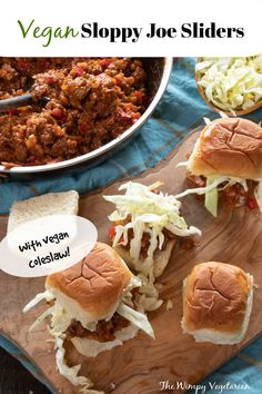 Vegan Sloppy Joe Sliders using Beyond Beef ground 'meat' cooked in a sweet and tangy sauce, topped with vegan coleslaw. Perfect for any party! #SloppyJoesRecipe #VeganSloppyJoes #VeganSloppyJoesBeyondMeat #HealthyComfortFood #BeyondMeat #HealthyComfortFoodRecipes Tailgating Recipes, Tailgate Food, Delicious Vegan Recipes, Healthy Recipes, Vegan Sloppy Joes, Appetizer Recipes, Sandwich Recipes, Dinner Recipes, Appetizers