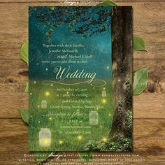Enchanted Forest Wedding Invitation, Woodland Wedding Invitation, Secret Garden Wedding Invitation, Mason Jar Fireflies Wedding Invitation, Fairy Lights Wedding Invitation, Rustic Garden Lights Wedding Invitation, Fairytale Wedding Invitation by Soumya's Invitations #wedding #weddinginvitations #bride #bridetobe #forestwedding #rusticwedding