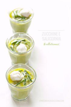 verrine di vellutata di zucchine e salicornia