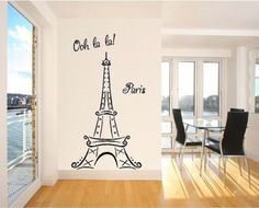 Eiffel Tower Ooh La La Paris tall Wall Sayings Decal Vinyl Wall Art Words Vinyl Lettering