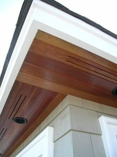 western red cedar soffit with custom vent cuts Exterior Trim, Exterior Design, Roof Soffits, Soffit Ideas, Porch Ceiling, Wood Cladding, Ranch Remodel, House Siding, Fibreglass Roof
