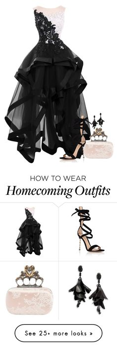 """Untitled #2089"" by seventeene on Polyvore featuring Oscar de la Renta, Alexander McQueen and Gianvito Rossi"