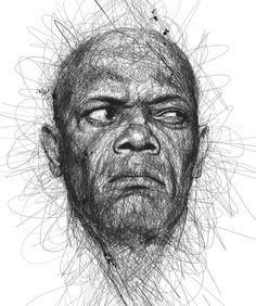 """""""Faces"""" is a series of celebrity portraits made of seemingly random scribbles, created by Malaysian illustrator Vince Low. via Designlov Vince Low's website Illustration Inspiration, Face Illustration, Art Illustrations, Vince Low, Pencil Drawings, Art Drawings, Animal Drawings, Drawing Portraits, Realistic Drawings"""