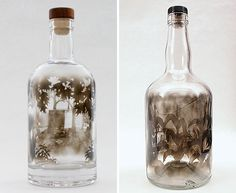 Jim Dingilian fills Bottles With Smoke And Brushes It Away To Create Beautiful Art