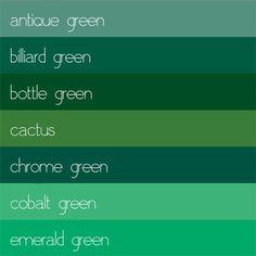 Color giada, lime, mirto, salvia, pistacchio, agrumi. Sono solo alcune delle tonalità del colore più diffuso in natura: il VERDE. Eh si, perché esistono anche verde olivastro, verde palude, verde ...