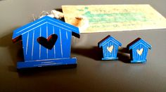 Wooden Birdhouse Brooch available in blue and white.  Lasercut, handmade jewellery using upcycled wood. by BoughtoBeauty on Etsy