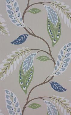 Fontibre by Nina Campbell - Blue / Green - Wallpaper : Wallpaper Direct