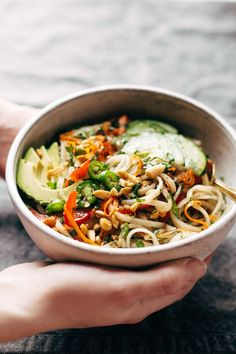 Super excited to introduce you to a new little lady today. She is my favorite bowl to date – this coming from a serial bowl-recipe addict – and she is loaded with good things like rice noodles, sweet
