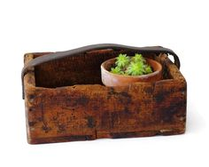 Rustic Wood Tote, Vintage Crate Box, Tool Caddy. $45.00, via Etsy.