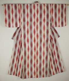 Japanese vintage meisen silk kimono tatewaku Red stripe pattern of white back | eBay