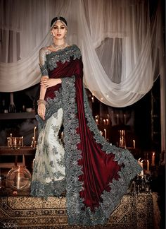 Burgundy and Titanium Embroidered Saree