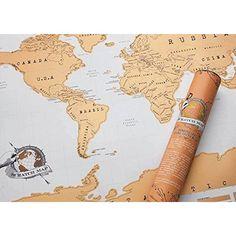 Luckies of London USLUKSTRA Scratch Map Carte du monde à gratter Marron Foncé 42 x 29.7 cm
