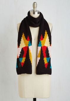 Kaleidoscope Out the Scene Scarf. You indulge your adventurous spirit while exploring your new neighborhood in this black scarf from Wooden Ships. #multi #modcloth