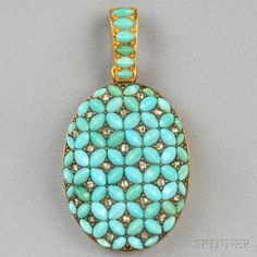 Antique 18kt Gold, Turquoise, and Diamond Locket | Sale Number 2659B, Lot Number 316 | Skinner Auctioneers
